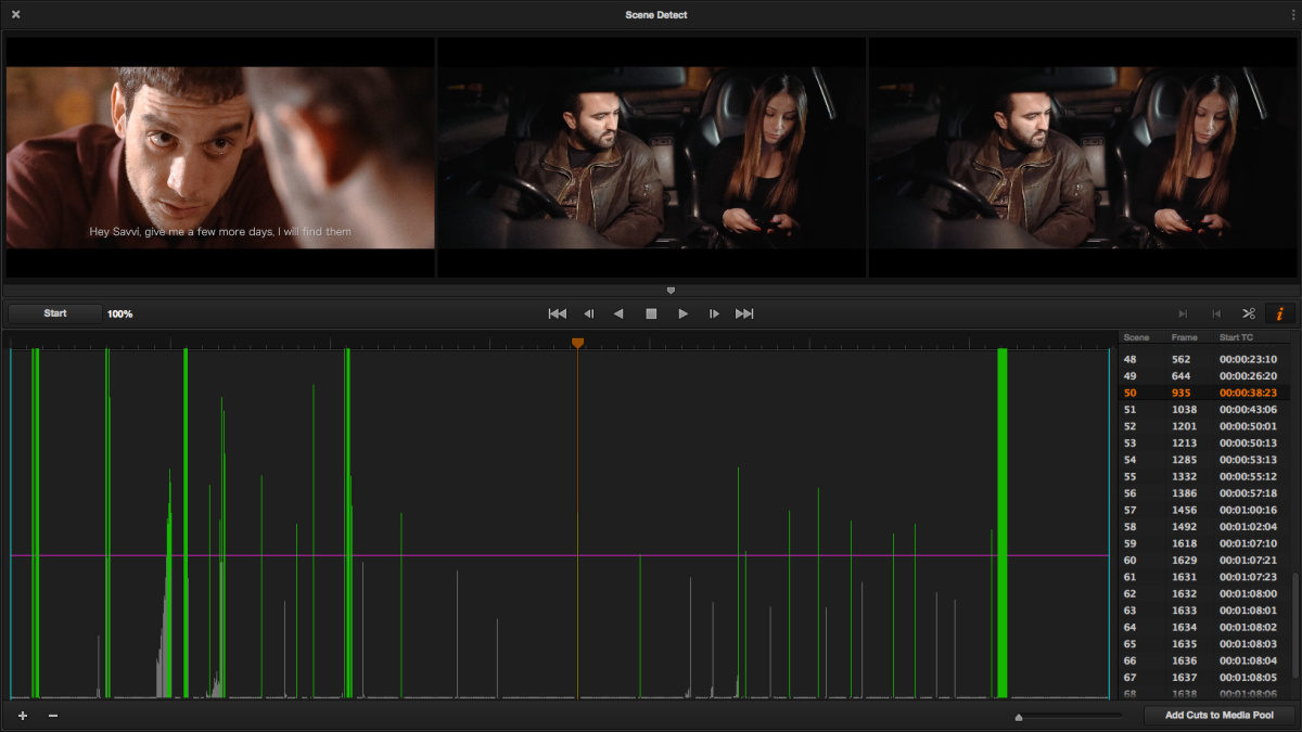 How to use DaVinci Resolve to detect cuts and split the video
